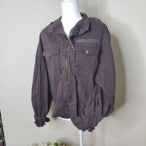 Akira black label puff sleeve cargo jacket size L